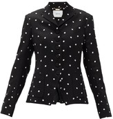 Erdem Tomasso Ditsy-embroidered Crepe Jacket - Womens - Black White