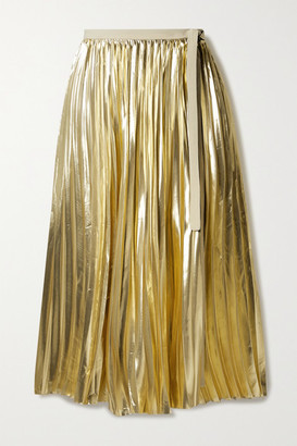 Proenza Schouler Pleated Lame Wrap Midi Skirt - Gold