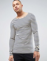Asos Stripe Extreme Muscle Long Sleeve T-Shirt With Boat Neck