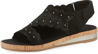 Sesto Meucci Stela Laser-Cut Suede Sandals, Black