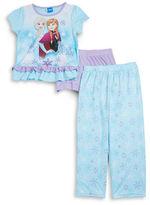 AME Sleepwear Little Girl's & Girl's Frozen Pajama Tee, Shorts and Pants Set
