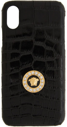 Versace Black Medusa Croc iPhone X CSS Case
