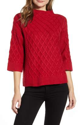 Vince Camuto Chunky Cable Knit Funnel Neck Sweater