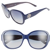 Tory Burch Women's 56Mm Gradient Round Sunglasses - Navy/ Blue Zig Zag