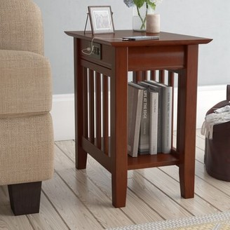 Three Posts Danube Solid Wood End Table and Built-In Outlets Color: Walnut
