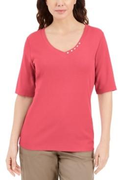 Karen Scott Button-Detail V-Neck Top, Created for Macy's