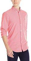 Lacoste Men's Long Sleeve Poplin Gingham Regular Fit Button Down Woven Shirt