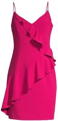 Black Halo Kim Ruffle Front Sheath Dress