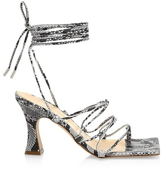 A.W.A.K.E. Mode Rita Python-Print Leather Lace-Up Ankle Strap Sandals
