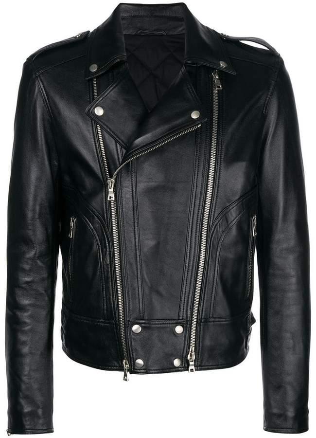 Balmain leather padded biker jacket