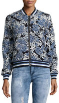 Blank NYC Floral and Faux Leather Reversible Bomber Jacket