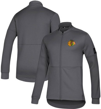 adidas Men's Gray Chicago Blackhawks Game Mode Full-Zip Bomber Jacket