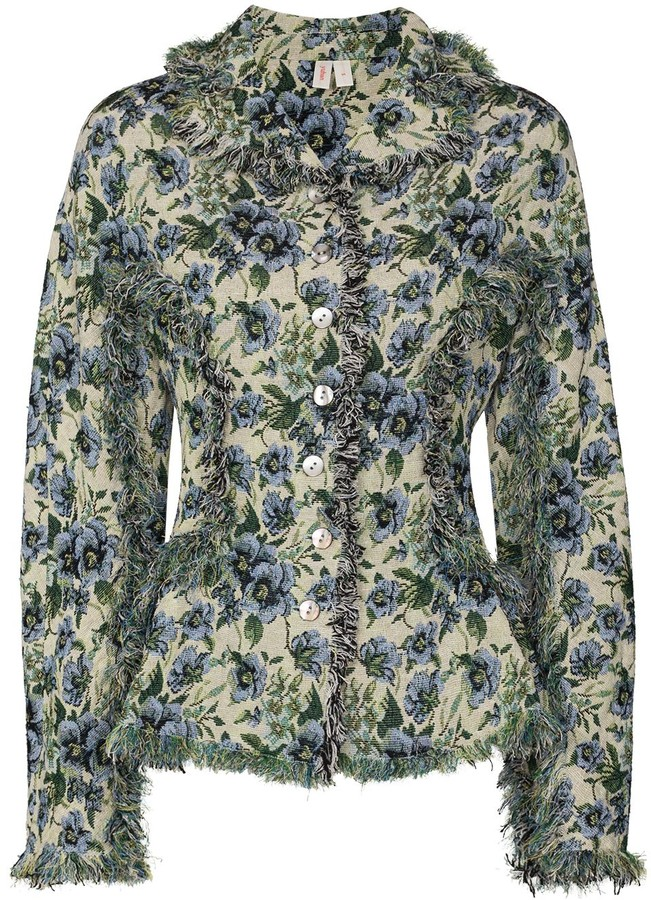 Thumbnail for your product : yuhan wang Floral-Print Button-Down Jacket