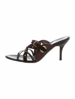 Gucci Leather & Suede Embellished Sandals Brown