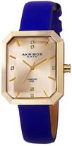 Akribos XXIV Women&s Swiss Quartz Diamond Leather Strap Watch - 0.03 ctw