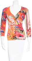 Etro Floral Print Rib Knit Cardigan