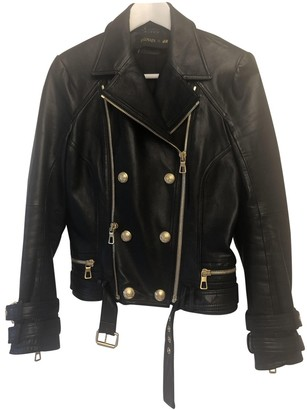 Balmain For H&m Black Leather Leather Jacket for Women