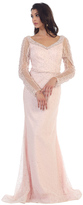 May Queen - Sheer Pearls and Rhinestone Mesh Sheath Gown RQ7483