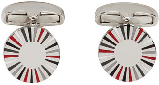 Paul Smith Silver and Red Manchester United Edition Striped Edge Circular Cufflinks