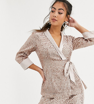 Little Mistress Petite tailored sequin wrap blazer in rose gold two