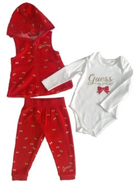 GUESS Girls 3 Piece Set. Velour Vest and Pull on Jogger with Long Sleeve Bodysuit.
