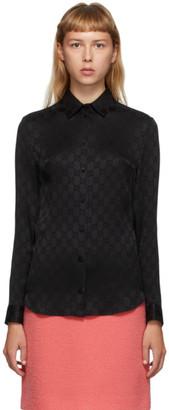 Gucci Black Silk GG Shirt