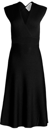 Victor Glemaud Cross-Back Merino Wool Fit-&-Flare Dress