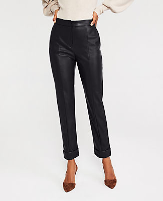 Ann Taylor The Faux Leather High Waist Ankle Pant