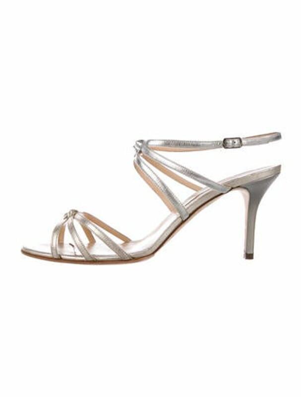 Thumbnail for your product : Oscar de la Renta Leather Cutout Accent Slingback Sandals Metallic
