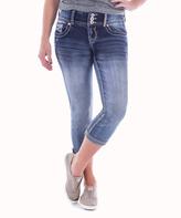 Amethyst Jeans Blue Denim Embellished-Pocket Hilda Capri Jeans - Plus