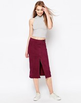 Daisy Street Wrap Front Skirt In Suedette