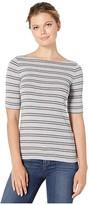 Lauren Ralph Lauren Striped Stretch Cotton Boat Neck Top (Pearl Grey Heather/Lexington Grey Heather) Women's Clothing