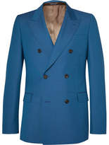 Alexander McQueen Cobalt Double-Breasted Wool and Mohair-Blend Suit Jacket
