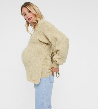 ASOS DESIGN Maternity wrap fluffy sweater in oatmeal
