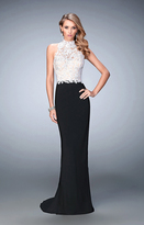 La Femme 21837 Two-toned Lacy Evening Gown