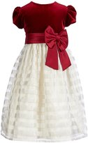 Jayne Copeland Little Girls 2T-6X Velvet Sash-Bow Striped Dress