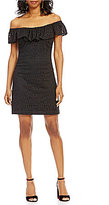 Betsey Johnson Off-The-Shoulder Ruffle Lace Sheath Dress