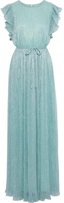 ZAC Zac Posen Samantha Ruffled-trimmed Metallic Plisse Stretch-knit Gown