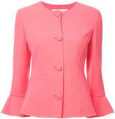 Oscar de la Renta round neck jacket - women - Nylon/Spandex/Elastane/Virgin Wool - 4