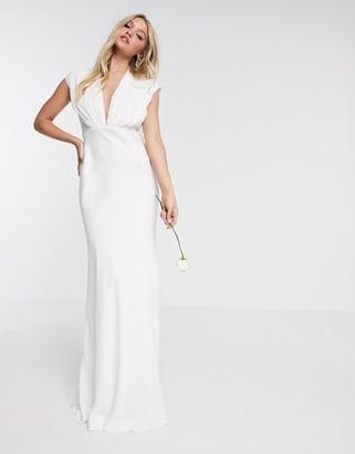 ASOS EDITION Rebecca ruched plunge satin wedding dress