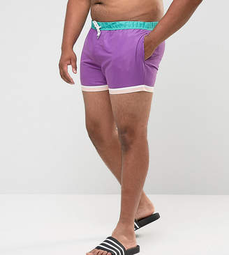 Asos Design PLUS Festival Swim Shorts In Purple With Hem Detail In Short Length