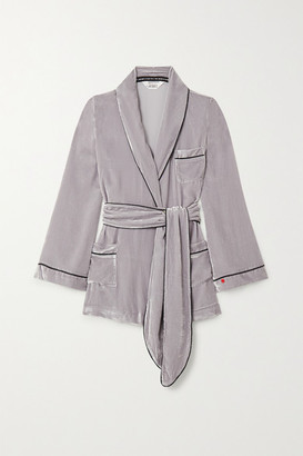 SLEEPING WITH JACQUES The Bon Vivant Belted Piped Velvet Robe - Taupe