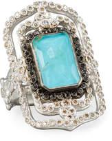 Armenta New World Midnight Turquoise & Diamond Scroll Ring