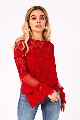 Girls On Film Levine Red Fluted Sleeve Top