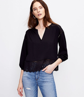 LOFT Eyelet Split Neck Top