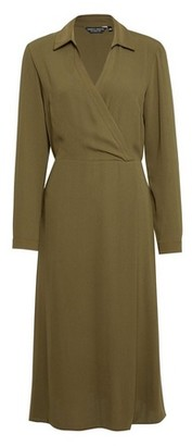 Dorothy Perkins Womens Khaki Wrap Shirt Dress, Khaki
