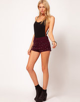 Asos High Waisted Denim Shorts in Purple with Studs