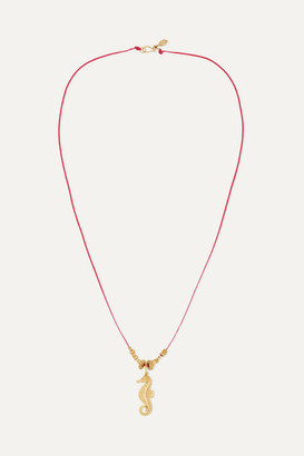 Pippa Small Net Sustain 18-karat Gold And Cord Necklace
