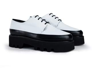 Unreal Fields Step Up - White Leather Two Toned Creepers