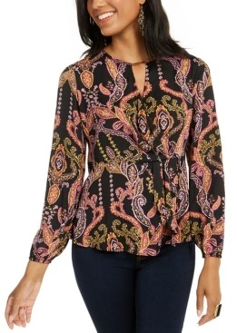 Thalia Sodi Printed Ruffled Keyhole Top, Created for Macy's
